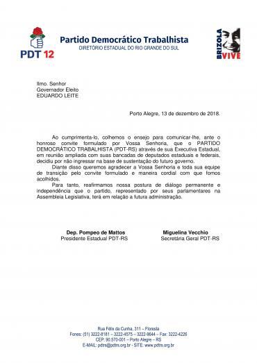 Carta ao Governador Eleito